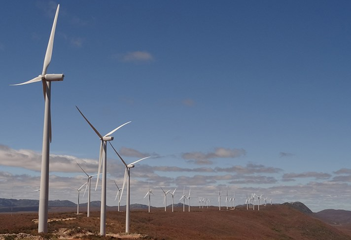 Windfarm Macaúbas in Bahia in Brasil