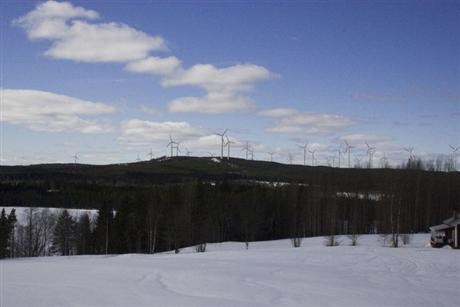 Wind farm in winter landscape